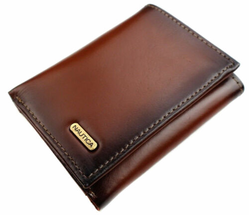 BRAND NEW NAUTICA MEN'S LEATHER CREDIT CARD PASSCASE WALLET TRIFOLD TAN 6261-04