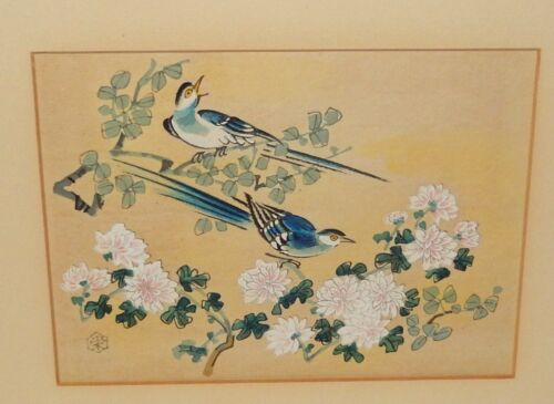 ORIGINAL JAPANESE BIRDS BLOSSOMS WOODBLOCK SIGNED BY ARTIST