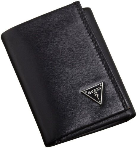 NEW GUESS MEN'S LEATHER CREDIT CARD ID WALLET PASSCASE TRIFOLD BLACK 31GU11X011