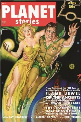 vintage COMIC BOOK COVER POSTER spring issue PLANET STORIES futuristic 24X36