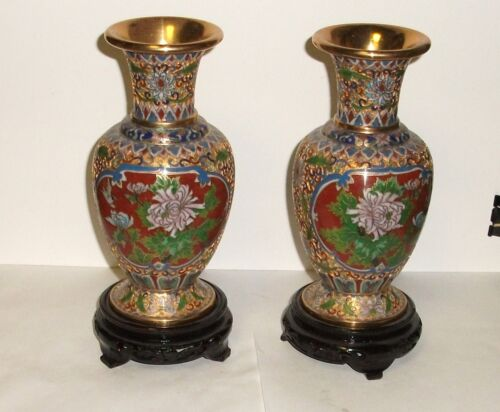 PAIR OF CHINESE OPEN CLOISONNE ENAMEL FLORAL VASES WITH STANDS