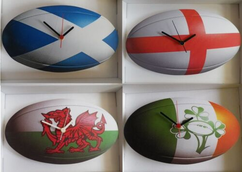 RUGBY BALL WALL CLOCK.NEW. CHOOSE FROM ENGLISH, IRISH, SCOTTISH OR WELSH DESIGN