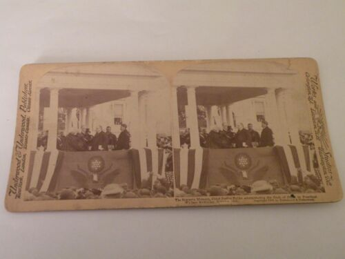 ANTIQUE MCKINLEY STEREOVIEW CARD stereo view President MCKINLEY OATH OF OFFICE