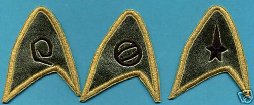 Classic Star Trek TOS Embroidered Insignia Patches  (set of 3)  - - THE CAGE