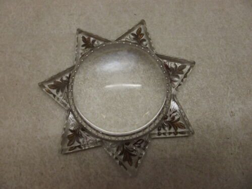 VICTORIAN EMBOSSED PAPERWEIGHT STAR PICTURE FRAME BUBBLE GOLD & WHITE REVERSE