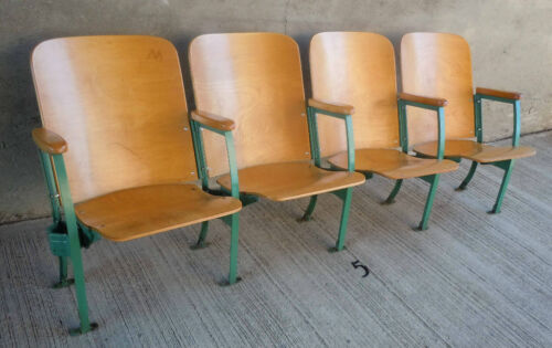 Vintage Set of Four (4) Auditorium Seating - Maple Wood Seats w/Open Ends