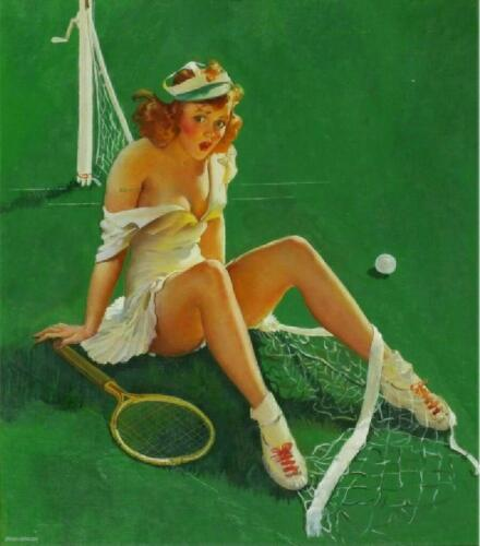 RETRO PINUP QUALITY Canvas Art Print Poster Gil Elvgren Tennis Fail 12x8""