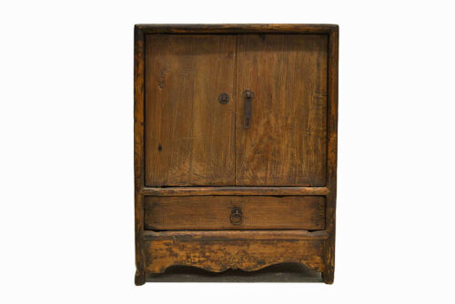 Chinese Antique Small Wooden Side End Table Cabinet with Door & Drawer Jul26-05