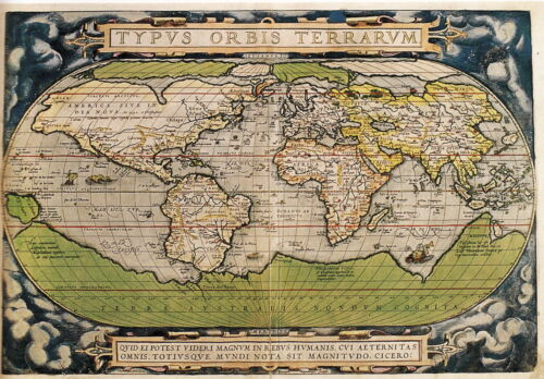 World Map by Abraham Ortelius Vintage Old Antique-Look Map Canvas Print