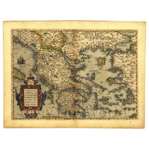 Old Antique Map of Graecia Greece by Abraham Ortelius Vintage Canvas Print