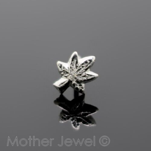 GENUINE SOLID 925 STERLING SILVER MARIJUANA LEAF NOSE STUD STRAIGHT PIN BONE