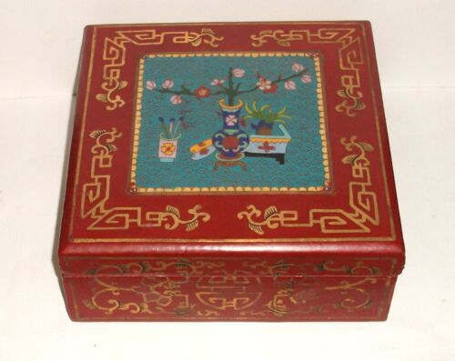 LARGE CHINESE CLOISONNE ENAMEL HAND PAINTED RED WOOD LACQUER BOX