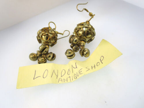 ANTIQUE GOLD PLATED PERSIAN TURKISH NOMADIC DANGLE PIERCED EARRINGS