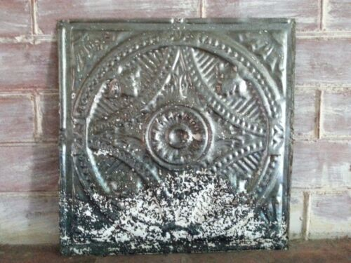 "1890's Reclaimed Metal 12"" x 12"" Antique Tin Ceiling Tile  Raw Metal Q24"