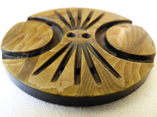 """Vintage Art Deco Celluloid Carved large button 1 7/8"""" in diameter"""