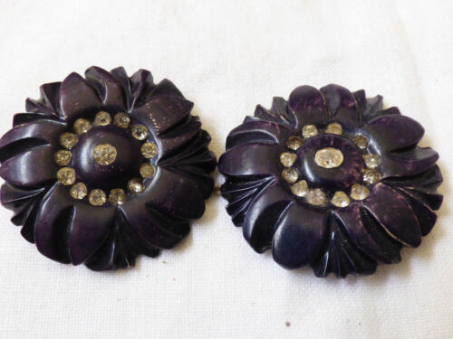 "Vintage old Art  Deco decorative rhinestones lot of 2  buttons 1.5"" in diameter"