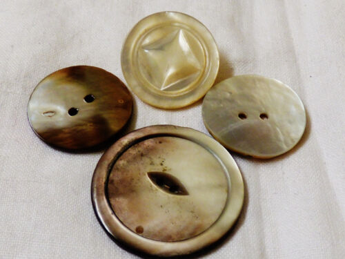 Vintage lot of 4 Mother of Pearl carved round buttons for crafts shirt dress