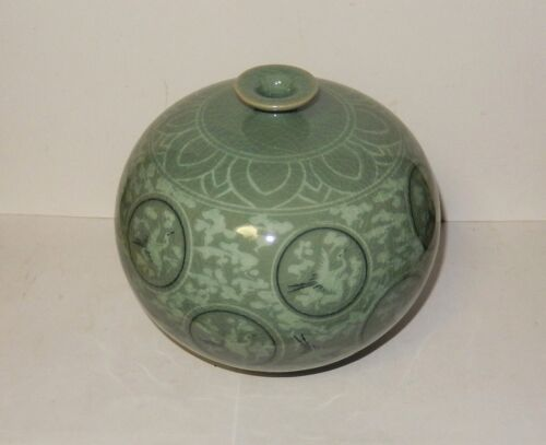 CELADON CRANE GREEN GLAZED CERAMIC POTTERY KOREAN ROUND VASE SIGNED BY THE MAKER