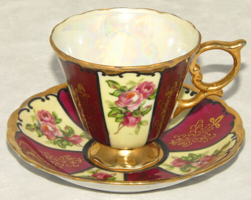 VINTAGE - ROYAL SEALY - Tea Cup Saucer SET - Floral - Gold Trim & Irridescent