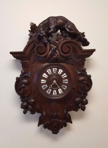 """1111002-4 : ANTIQUE FRENCH CARVED OAK RENAISSANCE HUNT WALL CLOCK 36"""" 3 ft TALL"""