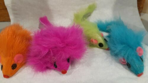 "Mouse Cat Toy -   Fur Mice 2"" Long - pastel neon lot of 50"