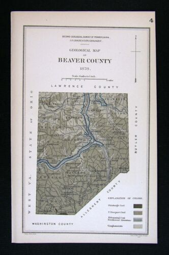 1878 Geological Map - Beaver County Pennsylvania - by Lesley - Coal Deposits PA