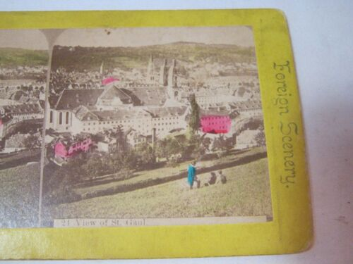 VIEW OF ST. GAUL FOREIGN SCENERY STEREOVIEW CARD     T*