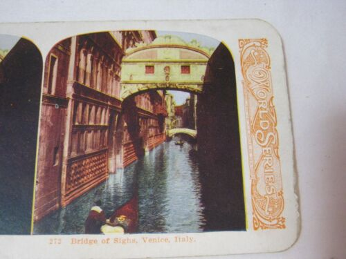 BRIDGE OF SIGHS VENICE ITALY WORLD SERIES STEREOVIEW STEREO CARD     T*