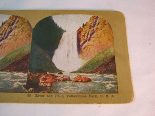 YELLOWSTONE PARK RIVER AND FALLS  STEREOVIEW STEREO CARD    T*