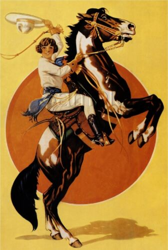 EQUESTRIAN COWGIRL REARING HORSE BACK RIDING MOON VINTAGE CANVAS ART PRINT