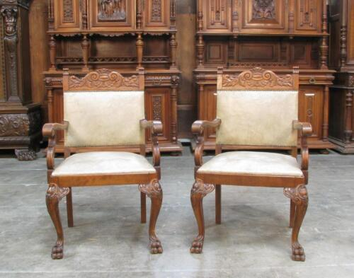 310-2 : LARGE PAIR OF ANTIQUE GERMAN CARVED ARM CHAIRS