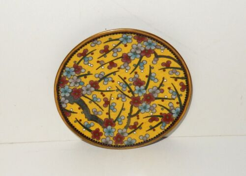 RARE SMALL BLOSSOMS CLOISONNE ENAMEL PIN TRAY PLATE
