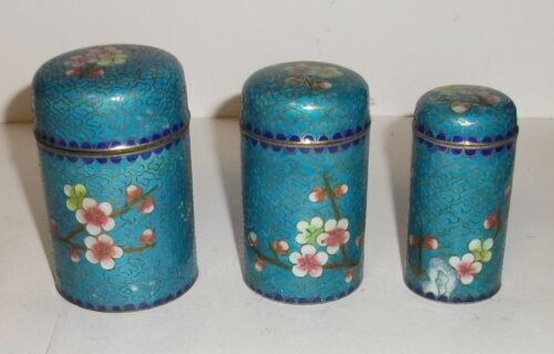 THREE PIECE BLUE CLOISONNE GINBARI ENAMEL FLORAL BLOSSOMS TRINKET NESTED JAR BOX
