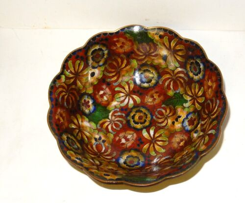 CHINESE CLOISONNE AMBER ENAMEL FLORAL BOWL