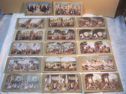 RELIGIOUS STEREO VIEW CARDS JESUS LOT OF 17 CARDS     T*