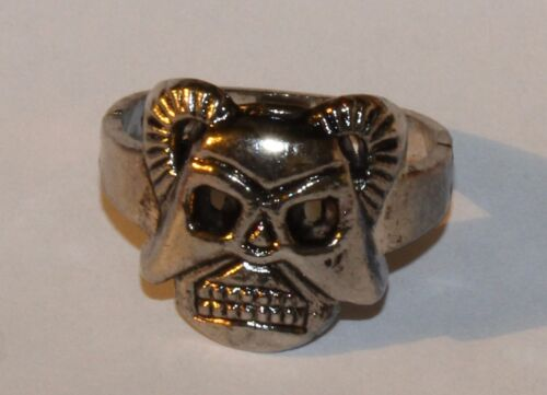 SKULL with Horns RING ~ NEW - Very Cheap, Low Quality MENS Fashion finger