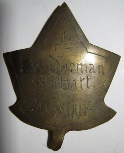 "WW1 CEF Hat Badge - Theater Made - 58th Battalion ""Pte. F.W. GURMAN""Canada - 13963"