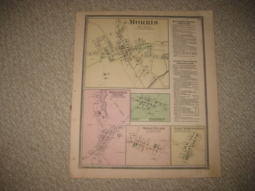 ANTIQUE 1868 MORRIS SPRINGFIELD MIDDLE VILLAGE OTSEGO COUNTY NEW YORK HNDCLR MAP