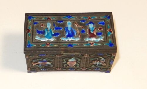 OLD SILVER GILT CLOISONNE REPOUSSE ENAMEL CHINESE GEISHA GIRLS STAMP JAR BOX