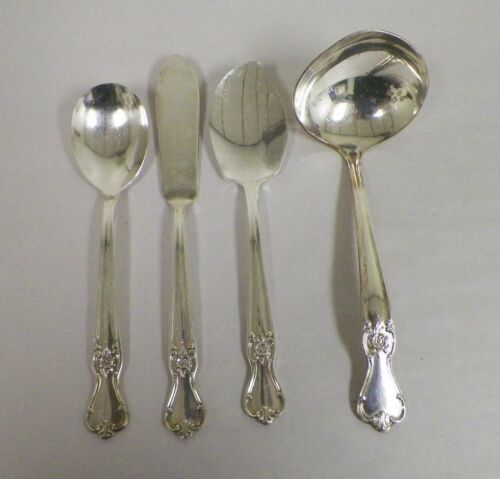 OLD COMPANY SILVER PLATE SILVERPLATE SCROLL ROSE MIXED SERVING LOT SPOONS KNIFE