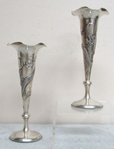 PAIR OF VINTAGE CHINESE HALLMARK SILVER DRAGON VASES