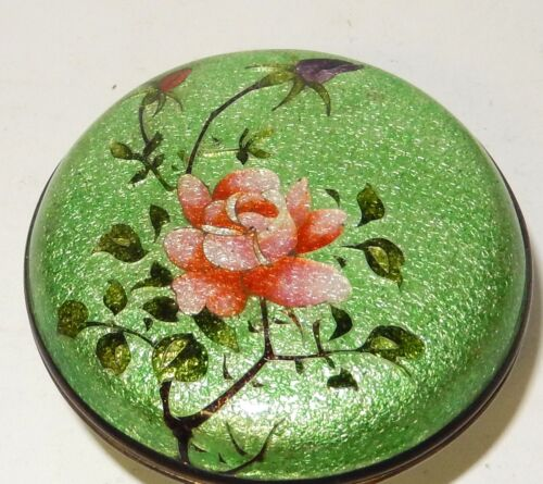 RARE BRONZE CLOISONNE GINBARI GREEN ENAMEL PINK ROSE FLOWER TRINKET JAR BOX