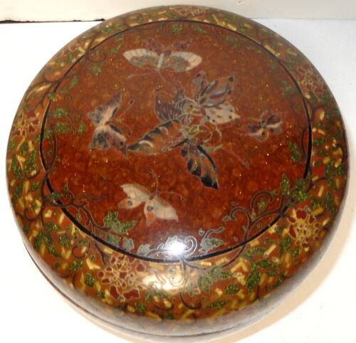 LARGE OLD JAPANESE CLOISONNE GINBARI ENAMEL FLORAL BUTTERFLY TRINKET BOX