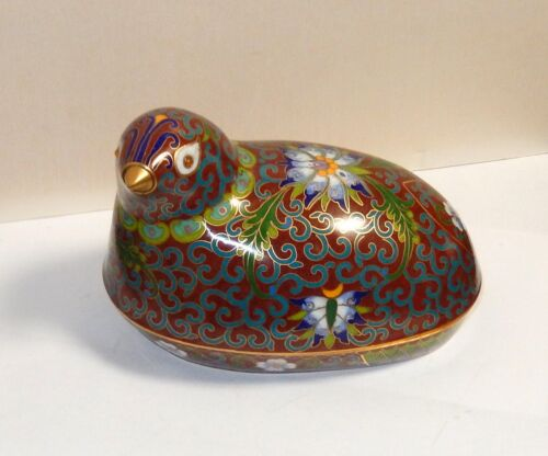 CHINESE CLOISONNE RED AND TURQUOISE ENAMEL FLORAL BIRD BOX