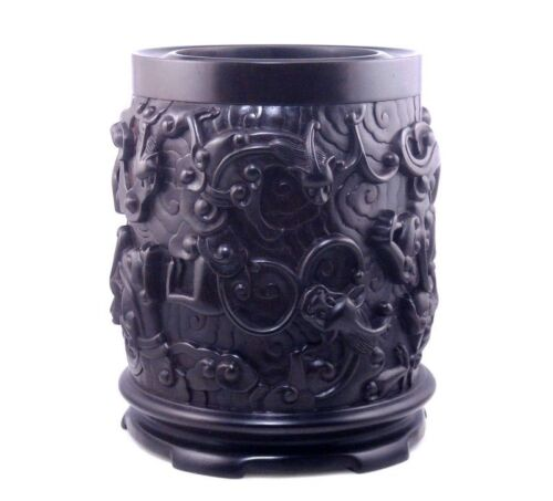 """7"""" African Rosewood ZITAN Wood 9 Dragons Hand Carved EXTRA LARGE Heavy Brush Pot"""