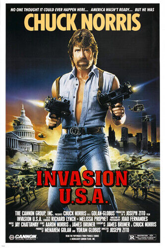 chuck norris INVASION USA movie poster ACTION martial arts star 24X36 rare