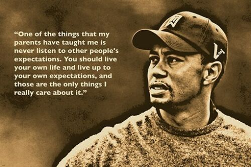 GOLF GREAT TIGER WOODS photo quote poster INSPIRATIONAL unique 24X36 hot NEW