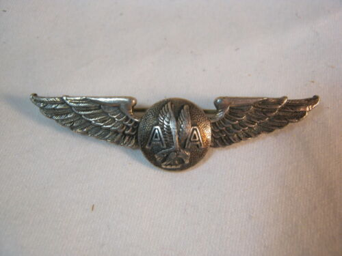 Vtg. American Airlines Crew Wings Sterling Silver Vintage Aviation  T*