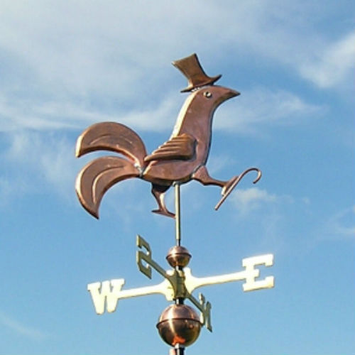 """COPPER   """" FANCY  DANCING ROOSTER  """" WEATHERVANE  MADE IN USA #250"""