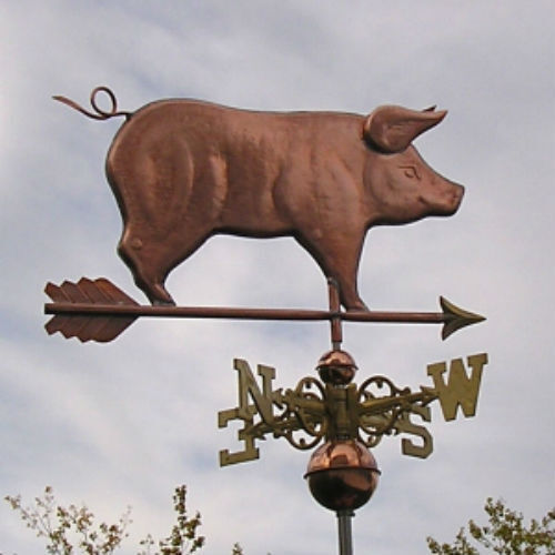 SWEET FANCY STANDING COPPER PIG WITH ARROW WEATHERVANE MADE IN USA #248F